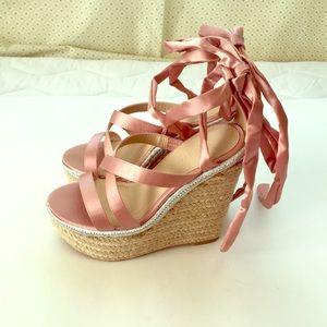 ASOS Satin Pink Espadrilles Size 4